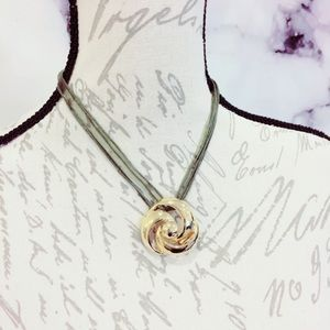 Gold Tone Metal Rose Floral Pendant